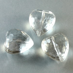German Plastic Bead - Transparent Faceted Heart 18MM CRYSTAL