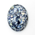 Plastic Flat Back Cabochon - Inlay Shell Oval 40x30MM BLUE