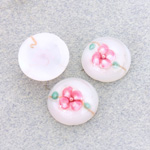 Glass Medium Dome Lampwork Cabochon - Round 15MM PINK ON WHITE (04863)