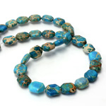 Gemstone Bead Smooth Lentil Cushion 10x8MM SEA SEDIMENT JASPER DYED TURQUOISE
