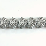 Czech Pressed Glass Engraved Bead - Leaf 11x13MM SILVER ON CRYSTAL