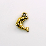 Metalized Plastic Pendant- Dolphin 17x13MM ANT GOLD