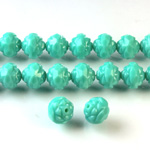 Czech Glass Fire Polished Bead - Fancy Cut Flower 08MM TURQUOISE