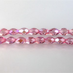 Czech Glass Fire Polish Bead - Oval 07x5MM 1/2 Coated PINK AB 45121