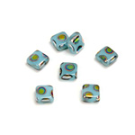 Czech Pressed Glass Bead - Smooth Flat Square 06x6MM PEACOCK LT BLUE
