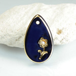 Glass Engraved Intaglio Flower Pendant with Chaton Insert - Pear 21x13MM LAPIS BLUE with GOLD