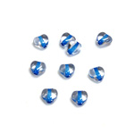 Czech Pressed Glass Bead - Smooth Heart 06x6MM CRYSTAL BLUE LINE