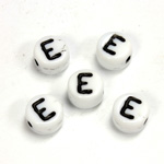 Czech Pressed Glass Engraved Bead - Alphabet 6MM BLACK ON WHITE