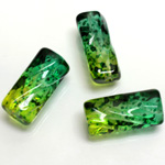 Plastic Bead - Two Tone Speckle Color Etched Cylinder 23x10MM GREEN YELLOW
