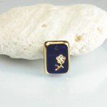 Glass Engraved Intaglio Flower Pendant with Chaton Insert - Cushion 12x9 LAPIS BLUE with GOLD