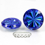 Glass Flat Back Pinwheel Round 18MM CRYSTAL HELIO BLUE