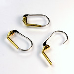 Brass Earwire 17MM Leverback Plain with no Loop with Stainless Steel wire