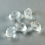 Plastic Bead -  Faceted Oval 12x8MM CRYSTAL