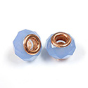 Glass Faceted Bead with Large Hole Copper Plated Center - Round 14x9MM BLUE OPAL