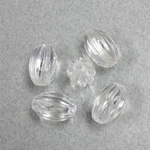 German Plastic Bead - Transparent Ribbed Oval 13x9MM CRYSTAL