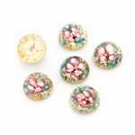 Glass Medium Dome Lampwork Cabochon - Round 10MM PINK ON SILVER (00596)