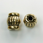 Metalized Plastic Engraved Bead - Fancy 16x11MM ANT GOLD