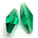 Plastic Bead -  Faceted Elongated Bicone 35x17MM EMERALD