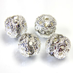 Filigree Rhinestone Ball with Center Line Crystals - 10MM CRYSTAL-SILVER
