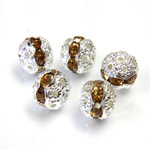 Filigree Rhinestone Ball with Center Line Crystals - 08MM LT TOPAZ-SILVER
