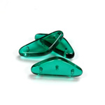 Czech Pressed Glass Bead -Triangle Rondelle 22x8MM EMERALD