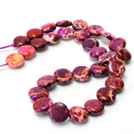 Gemstone Bead - Smooth Round Lentil 10MM SEA SEDIMENT JASPER DYED PURPLE