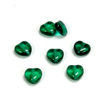 Czech Pressed Glass Bead - Smooth Heart 08x8MM EMERALD