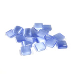 Fiber-Optic Flat Back Buff Top Straight Side Stone - Square 06x6MM CAT'S EYE LT BLUE