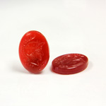 Glass Flat Back Intaglio - Warrior Head Oval 18x13MM CORNELIAN Right Facing