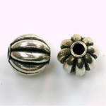 Metalized Plastic Bead - Melon Round 14MM ANT SILVER
