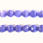 Fiber Optic Synthetic Cat's Eye Bead - Round Faceted 08MM CAT'S EYE TANZANITE