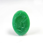 Glass Flat Back Intaglio - Warrior Head Oval 25x18MM  CHRYSOPHRASE Right Facing