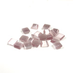 Fiber-Optic Flat Back Buff Top Straight Side Stone - Square 05x5MM CAT'S EYE LT PURPLE