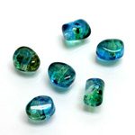Plastic Bead - Two Tone Speckle Color Nugget 09MM BLUE GREEN