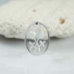 German Glass Engraved Buff Top Intaglio Pendant - 2-Rose Oval 14x10MM MATTE CRYSTAL