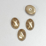 Glass Cabochon Baroque Top Pearl Dipped - Oval 14x10MM LT BROWN