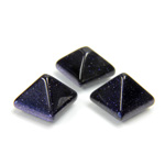 Man-made Cabochon - Square Pyramid Top 10x10MM BLUE GLODStone