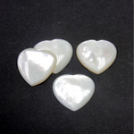 Shell Flat Back Cabochon - Heart 16MM WHITE MOP