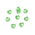 Czech Pressed Glass Bead - Smooth Heart 06x6MM PERIDOT