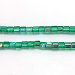 Czech Glass Fire Polished Bead - Atlas 04x4MM EMERALD AB