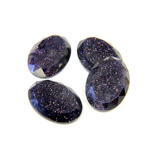 Man Made Flat Back Stone with Faceted Top and Table - Oval 14X10MM BLUE GOLDSTONE