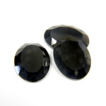 Gemstone Flat Back Stone with Faceted Top and Table - Oval 16x12MM BLACK ONYX