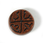 Plastic Flat Back Engraved Cabochon - Round 28MM INDOCHINE BROWN