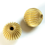Brass Corrugated Bead - Fancy Dimpled Round 16MM RAW