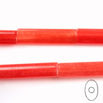 Gemstone Bead - Oval Cylinder 30x8MM Dyed QUARTZ Col. 44 RED
