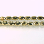 Czech Glass Fire Polish Bead - Oval 07x5MM AURUM FULL COAT