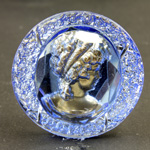 German German Glass Flat Back Reverse Carved Intaglio Back Woman's Head Round 35MM BRONZE on LT SAPPHIRE