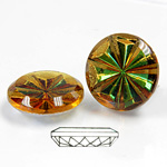 Glass Flat Back Pinwheel Round 18MM CRYSTAL HELIO GREEN