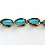 Glass Fire Polished Table Cut Window Bead - Pear 18x12MM AQUA with METALLIC COATING