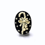 Plastic Cameo - Christmas Candy Cane Oval 25x18MM IVORY ON BLACK